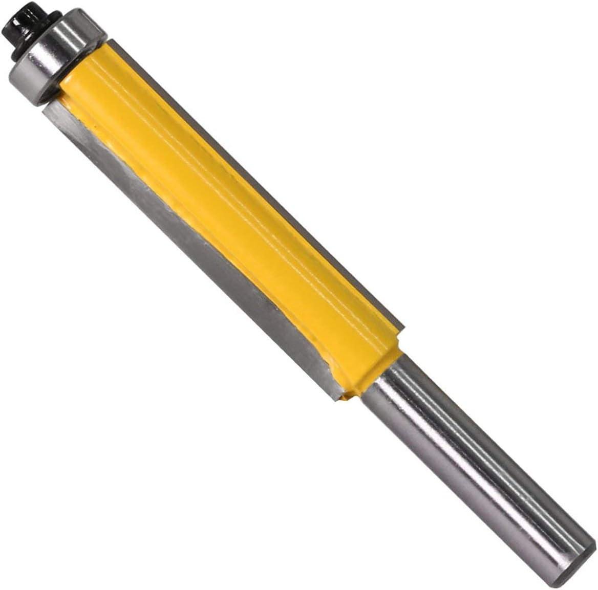 Sairis 8MM V/ástago Broca de fresado de Corte al RAS Alargado con rodamiento para patr/ón de Plantilla de Madera Fresa de carburo de tungsteno