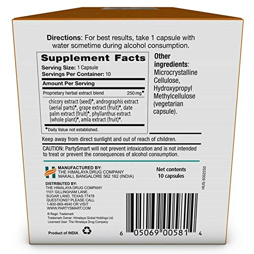 Himalaya PartySmart for Hangover Prevention, Alcohol Metabolism and a Better Morning After, 10 Capsules 250mg (3 Pack) by PARTYSMART (Image #5)