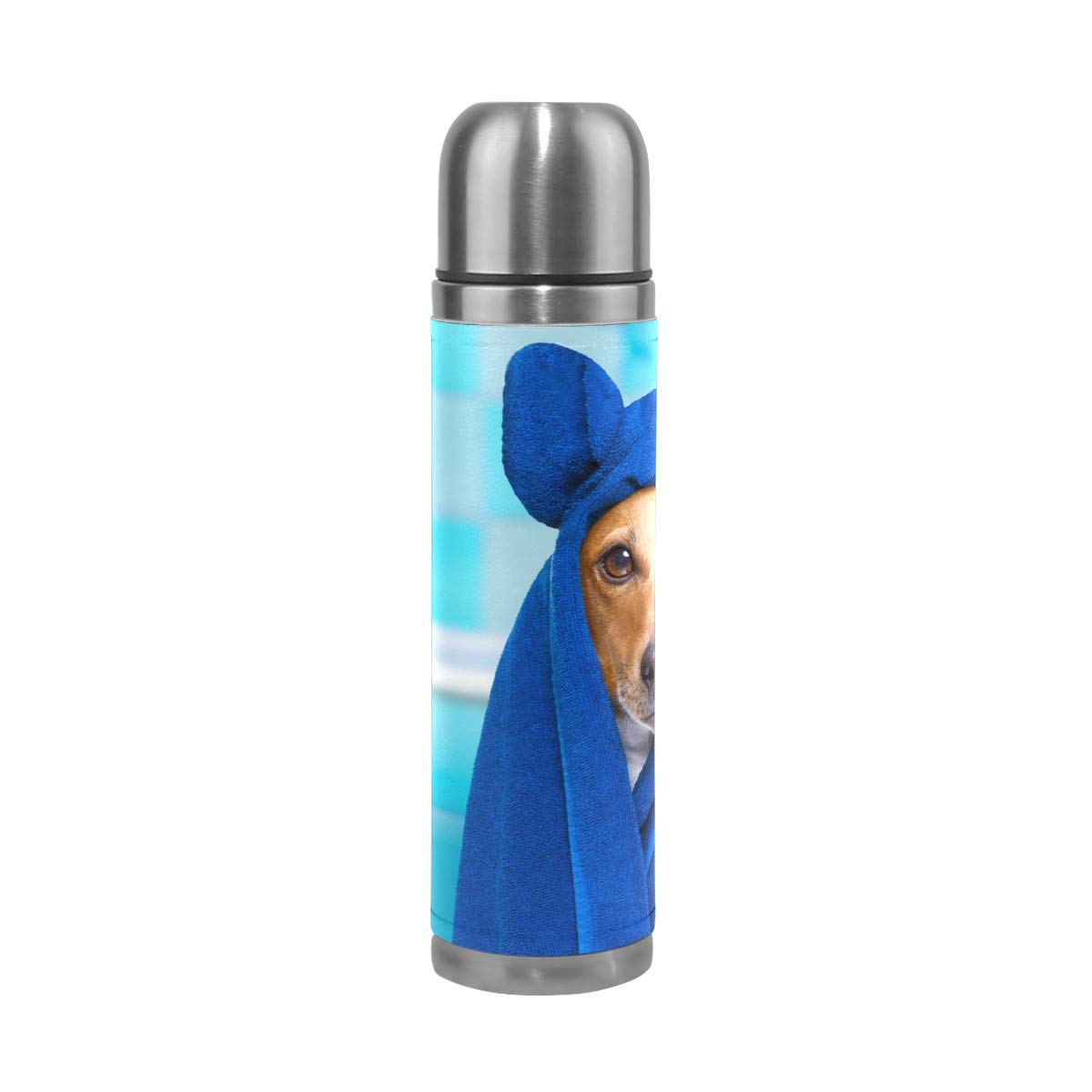 Dog in Wellness Spa Water Bottle Stainless Steel Leak Proof Double Walled Vacuum Insulated Travel Coffee Mug Genuine Leather Cover Drink Cup 17 OZ