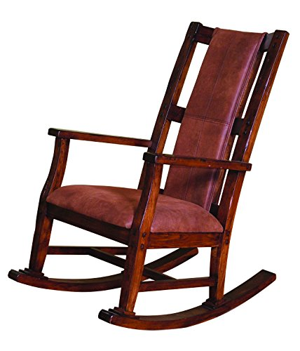 Rustic High Back Rocking Chair - Sunny Designs 1935DC Santa Fe Rocker with T-Fabric Seat and Back, Dark Chocolate Finish