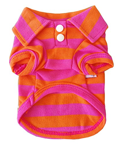Mummumi Small Dog Clothes, Pet Puppy Clothes Dog Summer T Shirt Dog Clothes Orange Stripe T Shirt For Cat Small Dog Yorkshire Chihuahua (L-back length 13.78
