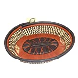 Oval Basket Serving Tray Brown Rust Africa Hand Woven