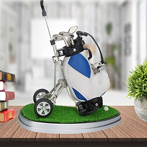 Hankerlife Golf Pens with Golf Bag Holder, with 3 Pieces Aluminum Pen Office Desk Golf Bag Pencil Holder for Fathers Day,Golf Souvenirs Unique Gifts for Golfer Fans Coworker (Blue and -