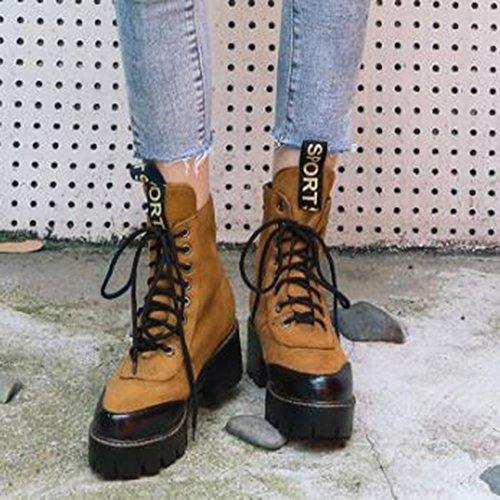 Easemax Kvinners Trendy Kontrastfarge Frostet Rund Tå Plattform Mid Chunky Hæl Lace Up Boots Yellow