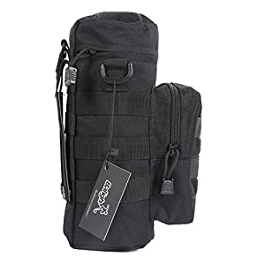 Greatlizard Outdoor Tactical Gear Military Water Bottle Pouch Holder Tactical Kettle Gear Molle Pack Bag - Black
