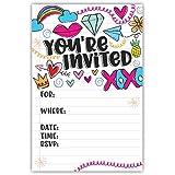 Fun Girl Doodles Invitations (20 Count) with Envelopes - Pre Teen - Tween Birthday Invitations