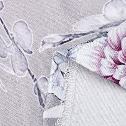 Rond Chemise Chemise Femme Confortable Et paules Top breal Bouffant Impression Col Loisir Fleurs Top Qualit Bonne Nues Grau Blusen Manches Elgante Mode sans De wFnP54qxTx