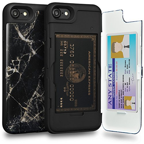 Iphone 8 Case  Toru  Iphone 8 Wallet Case Marble Black  Hidden Credit Card Holder Id Slot Card Case With Mirror For Apple Iphone 8  2017  Iphone 7  2016    Black Marble