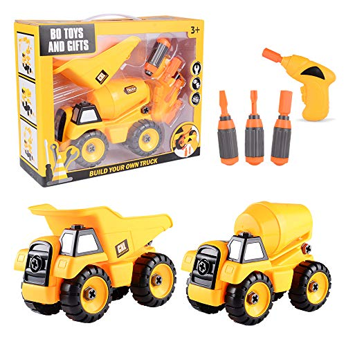Take Apart Toys Set - Construction Trucks - Dump Truck, Cement Truck - Stem Learning Educational Build It Yourself with Battery Powered Drill - Construction Tool Engineering Set