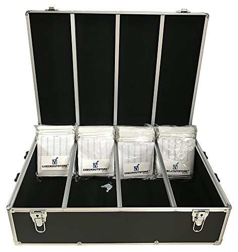 ((1) CheckOutStore Aluminum CD/DVD Media Hanging Sleeves Storage Box (Black / Holds 1000)