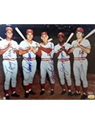 Cincinnati Reds Big Red Machine Signed 16 x 20 Photograph With 5 Signatures Including Johnny Bench,