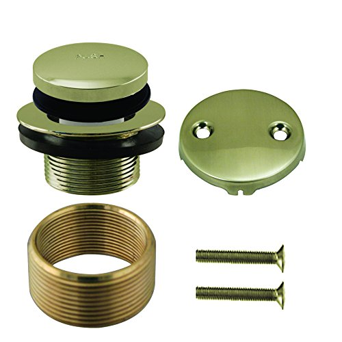 Westbrass Universal Fine or Coarse Thread Replacement Tip-Toe Strainer Drain with 2-Hole Faceplate, Polished Nickel, D93K-05