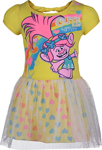 Trolls Toddler Girls' Tulle Dress Poppy, Yellow with Rainbow Hearts (3T) ()