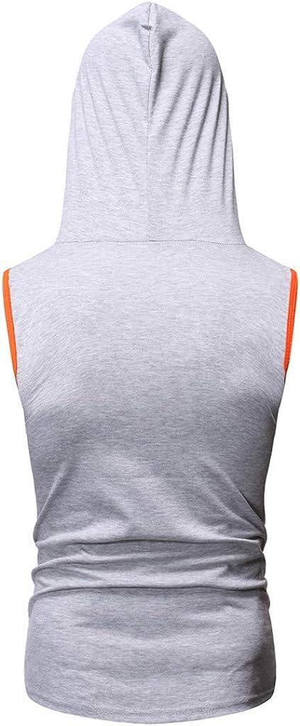 BZLine Mens Hoody Waistcoat Casual Cotton Vest Sportsman Hooded Weskit Trendy Contrast Vest Top Sleeveless Garment Bottoming Shirt Coat Vintage Waistcoats Jacket Top Blouse Outwear EU:S-XXL