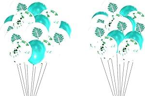 12inch 30 Pieces Hawaiian Aloha Luau Summer Tropical Palm Leaves Balloons Luau Balloon Green Latex Balloon Confetti Birthday Balloons for Boys Girls Baby Adult Neutral Birthday Jungle Safari Birthday Party Baby Shower Decorations