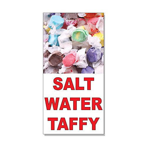Salt Water Taffy Red Food Bar Restaurant Food Truck DECAL STICKER Store Sign - 4.5 x 12 (Saltwater Taffy Sticker)