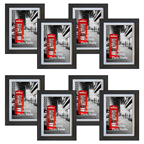 Amazing Roo 8 Pack Black Picture Frames 5x7 with Glass Front Display 6 x 8 Photos Without Matted for Wall or Tabletop Decor (Picture Frames 5x7 Matted)
