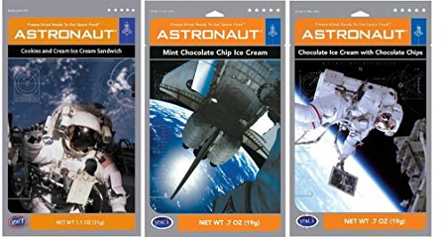 Astronaut Foods Freeze-Dried Ready To Eat Space Food Ice Cream 3 Flavor Variety Bundle: (1) Choco W/Chocolate Chips, (1) Mint Choco Chip, (1) Cookies & Cream Ice Cream Sandwich, .7-1.1 - American Cookie