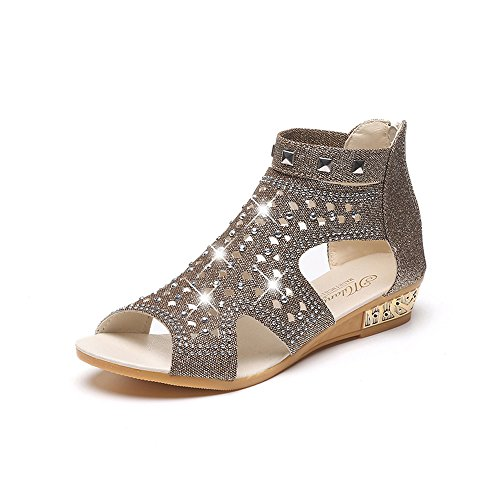 Women's Ladies Summer Beach Rhinestone Fish Mouth Hollow Wedges Heel Open Toe Sandals Roman Casual Shoes (Gold, 7.5-Women-US) -