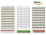 Laydus 30 PCS Christmas Paper Straw Decor Striped Paper Straws for Party Striped Decorative Straws for Parties and Events