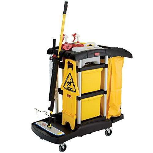 Rubbermaid FG9T7400BLA HYGEN Microfiber High Capacity Janitor Cart with Color Coded Pails by Rubbermaid