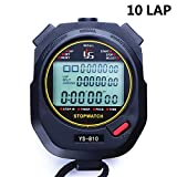 PULIVIA Sports Stopwatch Timer 10 Lap Split Memory Digital Stopwatch, Countdown Timer Pace Mode 12/24 Hour Clock Calendar with Alarm, 3 Rows Display Large Screen Water Resistant Battery Included