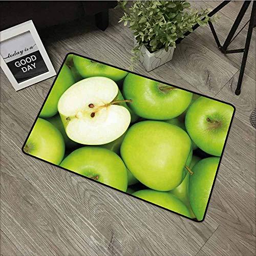 LOVEEO Indoor Doormat,Apple Realistic Looking Pile of Green Apples Healthy Sweet Snack Eating Clean Fresh,Anti-Slip Doormat Footpad Machine Washable,16