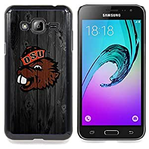 Benny Beaver Oregon Football Caja protectora de pl??stico duro Dise?¡Àado King Case For Samsung Galaxy J3