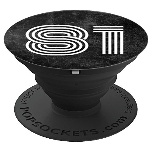 81 - Eighty One - 81st Birthday Gift Black Marble Slab - PopSockets Grip and Stand for Phones and Tablets