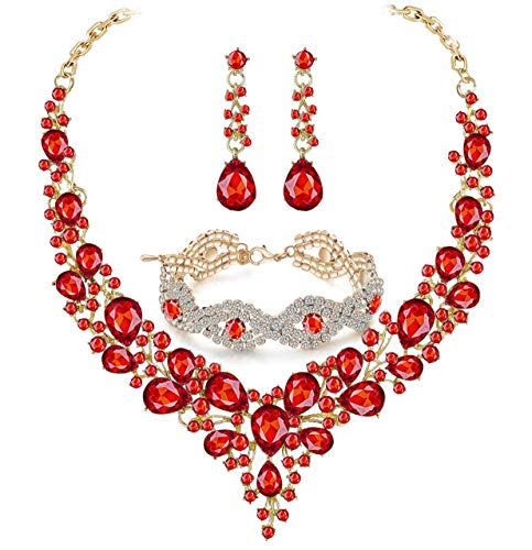 Paxuan Silver Wedding Bridal Prom Crystal Rhinestone Necklace Earrings Bracelet Tiaras Crown Jewelry Sets for Bride Bridesmaid Wedding Dress (Red - Necklace + Earrings + Bracelet)
