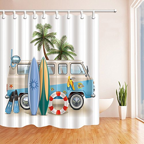 SZDR Cartoon Series - Surfboard Palm Tree Lifebuoy Leaning on Minivan With A Patterned Shower Curtain Of 69X70 inches Of Anti-mildew Polyester Fabric Bathroom With A Perfect Shower (Christmas Tree Shop Curtains)