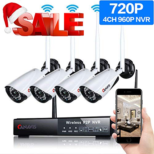 Wireless Security Camera System,CANAVIS 4CH 720P HD Video Security System,4pcs HD Bullet IP Cameras,Support Motion Detection Alarm & Remote View by iOS or Android App,No Hard Drive