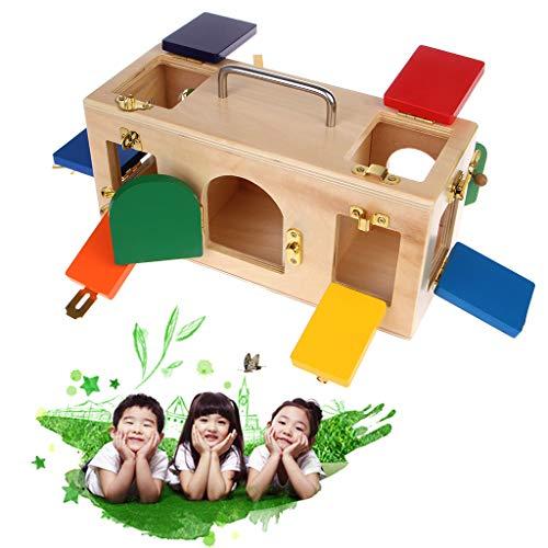 Seaskyer Montessori Colorful Little Lock Box , Materials Lock Set Lock Key Tool Sets , Kids Educational Preschool Training Toys, Early Educational Gift (10 Locks, Doors latches)
