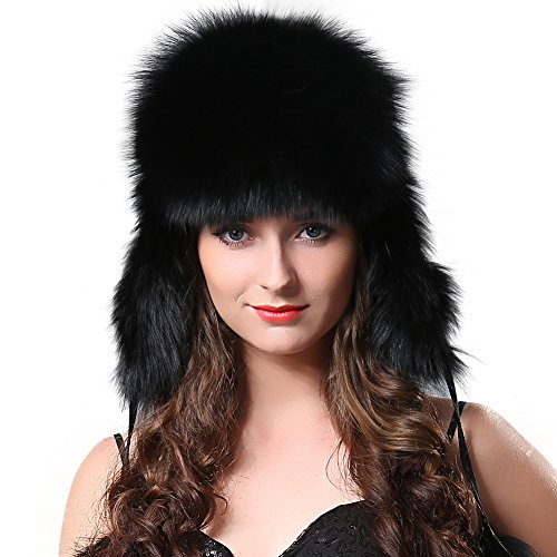 FURTALK Winter Fox Fur Trapper Hat - Ushanka Aviator Trooper Hat With Two Fur Pom Poms For Women Original (Trapper Pom)