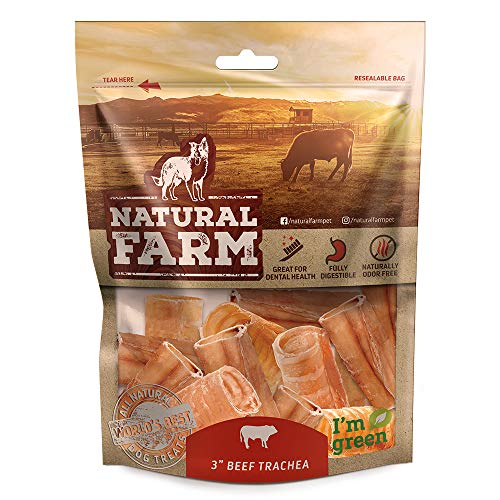 Natural Farm Pet 3-Inch Beef Trachea (12-Pack) Natural Beef Dog Treats   Farm-Raised, Grain-Free, Odor-Free   Fully Digestible Chews   Small, Medium, Large Breeds