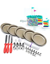 AK ART KITCHENWARE Rainbow Layer Cake Bakeware Set 5pcs 6 Non-stick Cake Pans 20pcs Icing Piping Nozzles Tips 3 Spatula 2 Nozzle Couplers Adapter 10 Disposable Pastry Bags RCK-05