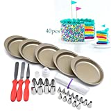 AK ART KITCHENWARE Rainbow Layer Cake Bakeware Set 5pcs 6'' Non-stick Cake Pans 20pcs Icing Piping Nozzles Tips 3 Spatula 2 Nozzle Couplers Adapter 10 Disposable Pastry Bags RCK-05