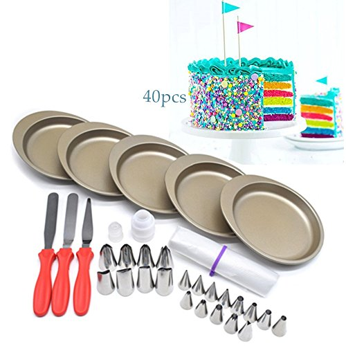 AK ART KITCHENWARE Rainbow Layer Cake Bakeware Set 5pcs 6'' Non-stick Cake Pans 20pcs Icing Piping Nozzles Tips 3 Spatula 2 Nozzle Couplers Adapter 10 Disposable Pastry Bags RCK-05 by AK ART KITCHENWARE
