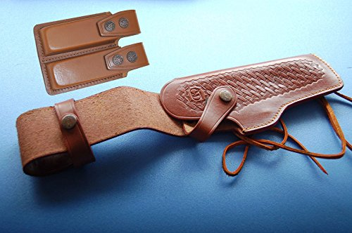 Alis40203 Belt with Leg Ties Brown Leather Holster Retention Strap Right Hand fits Colt Ruger Springfield Taurus Remington 1911 with double mag pouch