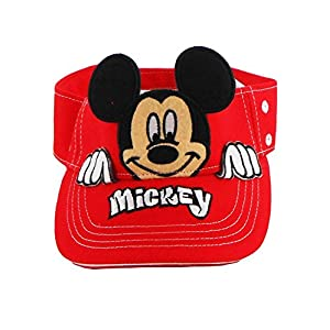 Disney Authentic Mickey Mouse Peeking Boys Sun Visor Red