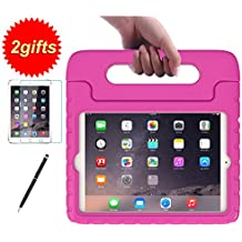 SUPLIK Kid-Proof Drop-Resistant Lightweight Protective Handle Stand Case with Screen Protector and Stylus for 7.9 Inch iPad Mini 1 2 3 Tablet, Pink