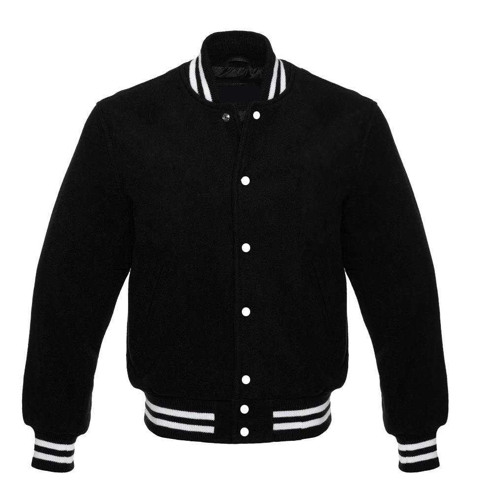 Varsity Letterman Baseball Vintage Retro All Wool Jacket (3XL, Black) by Revolution Enterprises