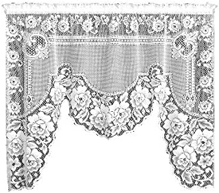 product image for Heritage Lace Victorian Rose 72-Inch Wide by 38-Inch Drop Swag Pair, Ecru
