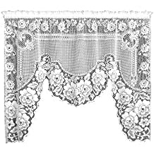 Heritage Lace Victorian Rose 60-Inch Wide by 48-Inch/34-Inch Drop 1-Piece Swag, White