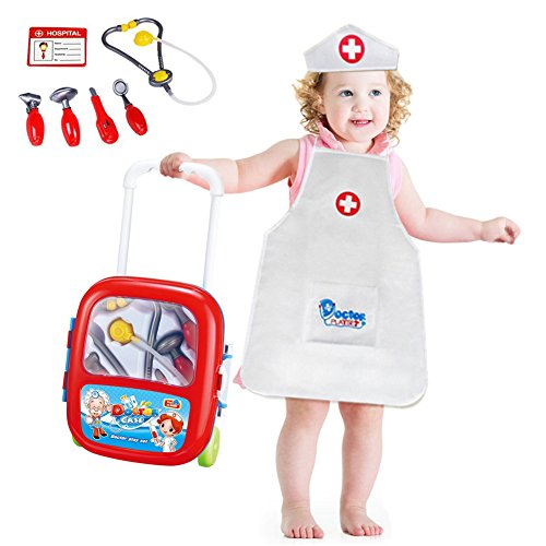 Freebex Deluxe Doctor Medical Kit Kids Nurse Pretend Playset Toy with 8 Pcs Accessories & Trolley Case Organizer