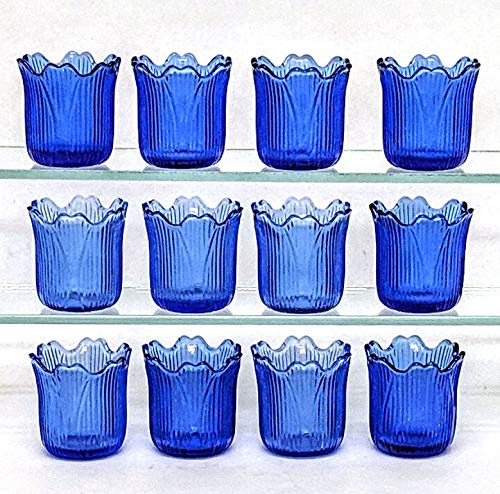 "Home Decoration Accessories Blue Glass Votive Candle Holder Tea Light Tulip Shape 2.25"" High Set of 12"