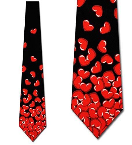 Falling Hearts tie broken heart ties Mens necktie by Three Rooker (Valentines Men)
