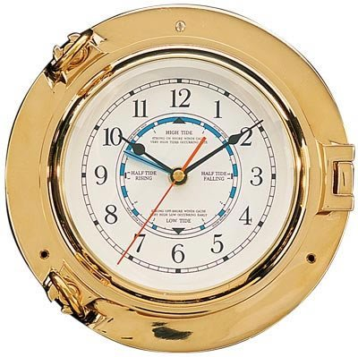HS Brass Porthole Tide & Time Clock