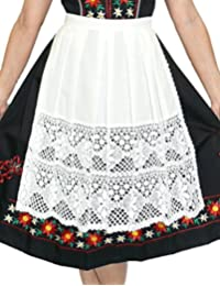 "German Long White Lace Apron for Dirndl (13"" (US size 0-8))"