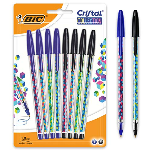 BIC Cristal Collection Stylos- Bolas de punta media (1,0 mm), color negro y azul
